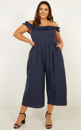 For Your Eyes Jumpsuit In Navy Linen Look