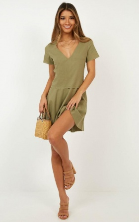 Get In Order Dress In Khaki Linen Look