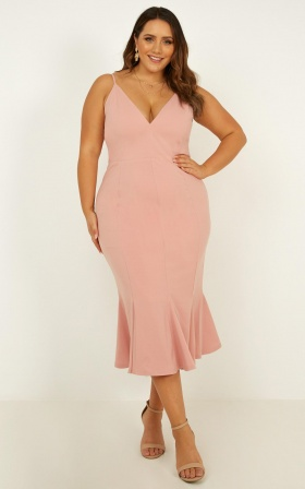 Get The Girls Over Dress In Blush