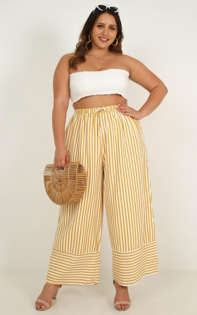 Hands On Your Hips Pants In Yellow Stripe