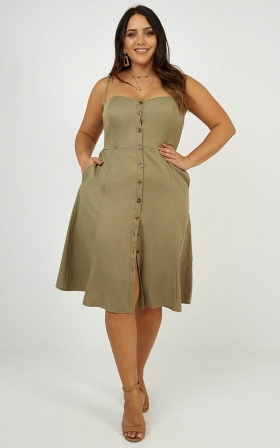 In My Mind Midi Dress In Khaki Linen Look