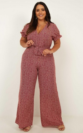 Keep It Close Jumpsuit In Wine Print