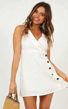 Keeping It Real Dress In White Linen Look