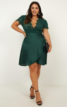 Love Grows Dress In Emerald Satin
