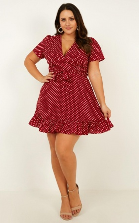 Marooned Dress In Wine Spot
