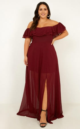 Midnight Lover Maxi Dress In Wine