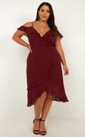 Rock The Rhythm Dress In Wine Self Stripe