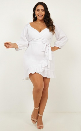 Satellite Love Dress In White Linen Look