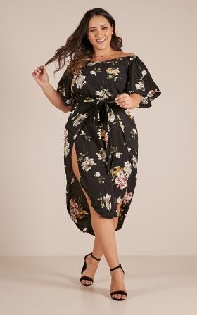 Snow Bird Dress In Black Floral