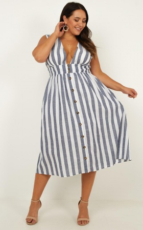 f7f9ee435987 ... Strolling Along Dress In Blue Stripe ...