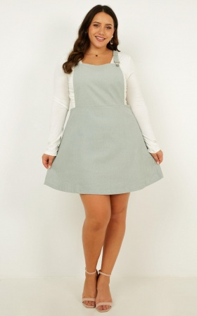 Thats What I Like Pinafore Dress In Sage Corduroy