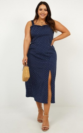 Travel Far Dress In Navy Spot