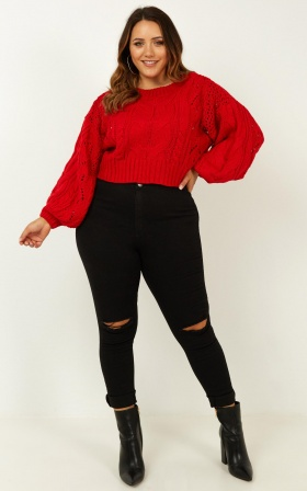 Vibrant Vibes Knit Jumper In Red