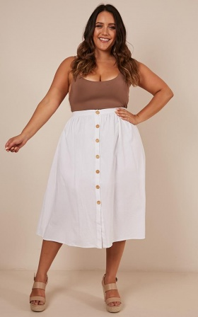 Running For You Skirt In White Linen