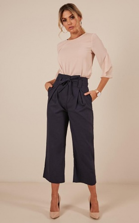 Rushing Around pants in navy Linen Look
