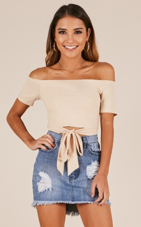 Sashed and Relaxed top in beige