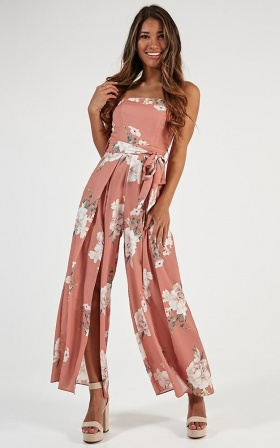 So Kiss Me Jumpsuit In Peach Floral