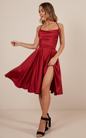 Something in the Water dress in wine satin