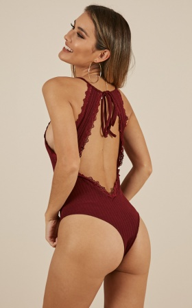 Staring Back At You Bodysuit In Wine