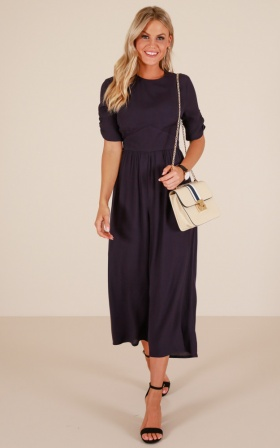 Straighten Up Jumpsuit In Navy