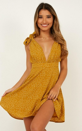 Stranger To You Dress In Mustard Spot
