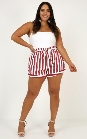 Summer Tide Shorts In Chilli Stripe