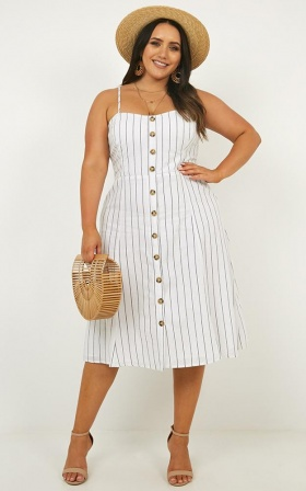 Sunday Afternoons Dress In White Stripe