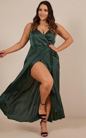 The Countess Dress in emerald green satin