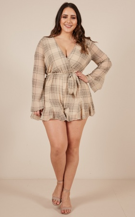The Only Girl Playsuit In Beige Check