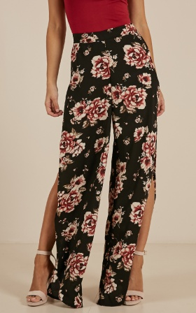 Theres No Harm Pants In Black Floral