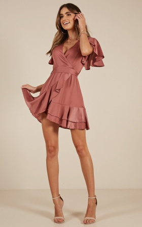 Thin Ice Dress In Rose Sateen