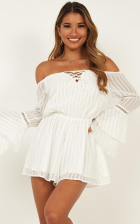 Cupids Arrow Playsuit In White