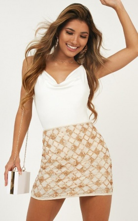 Chess Piece Skirt In Gold Sequin