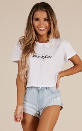Merci Cropped tee in white