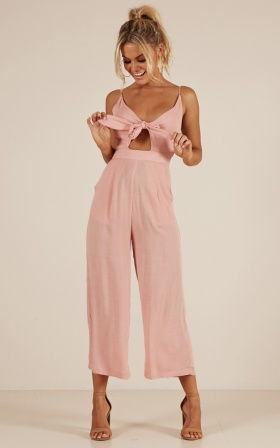 Renewed jumpsuit in blush Linen Look