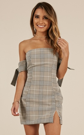 Good Faith dress in grey plaid
