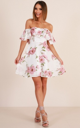 Rhapsody Dress In White Floral
