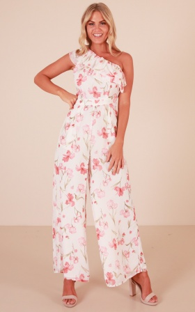 Long Lost Love Jumpsuit In White Floral