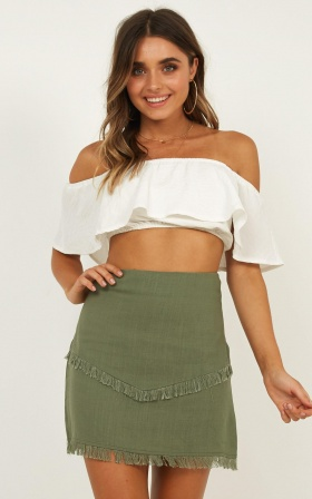 Simply Clueless Skirt In Khaki Linen Look