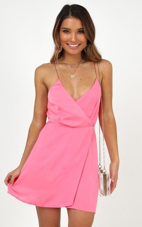 Slip It On Dress In Hot Pink Satin