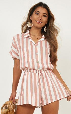 fb380ec392e Island Vibe Playsuit In Red Stripe ...