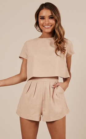 Talk It Up Two Piece Set in Beige Linen Look