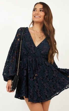 Autumn Leaves Dress In Navy Lace