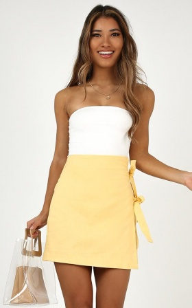 Beyond Luck Skirt In Lemon Linen Look
