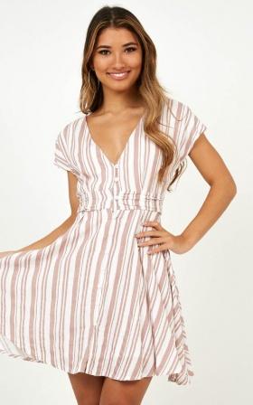 Deep Wide Ocean Dress In Blush Stripe