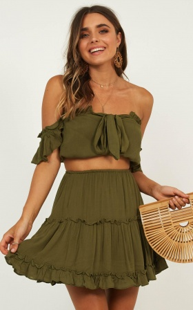 Love You So Two Piece Set In Khaki