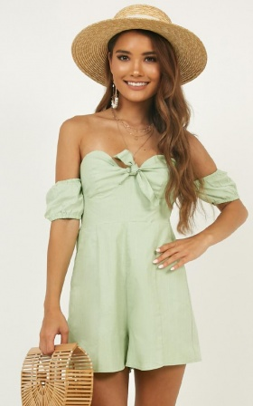 Sweeter Than You Playsuit In Sage Linen Look
