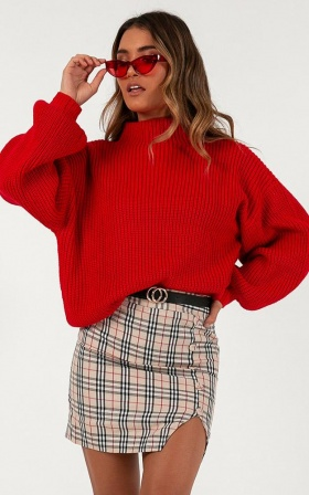I Feel Love Oversize Knit Jumper In Red