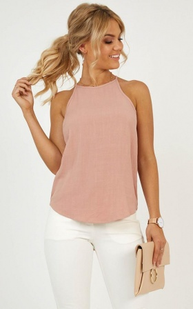 Work To Put It Right Top In Blush Linen Look