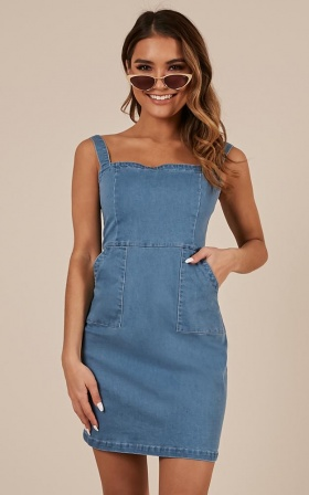 Hopeless Dreams Denim Dress In Light Wash